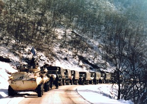 UN Convoy on a break after running the front lines.